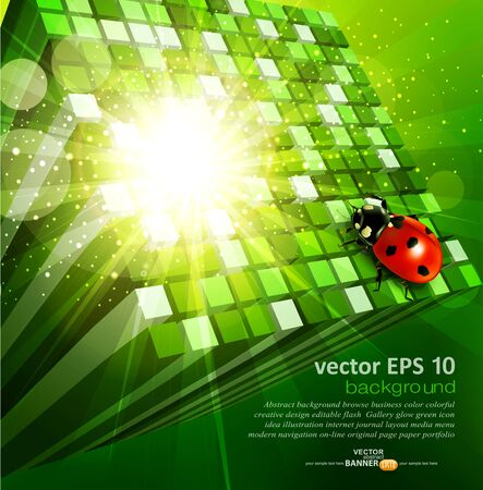 vector abstract background with green cubes and ladybug Stock Vector - 17772219
