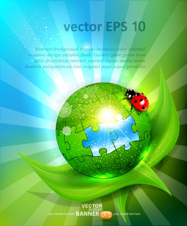 vector background with a bowl of puzzles lying on green leaf with ladybug Illustration