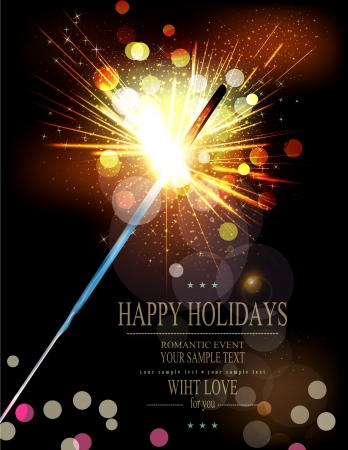vector holiday background with lit sparklers  イラスト・ベクター素材