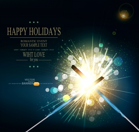 vector holiday background with lit sparklers Illustration