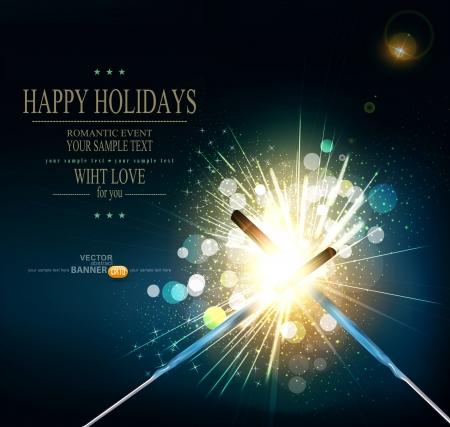 funken: vector Urlaub Hintergrund mit brennenden Wunderkerzen