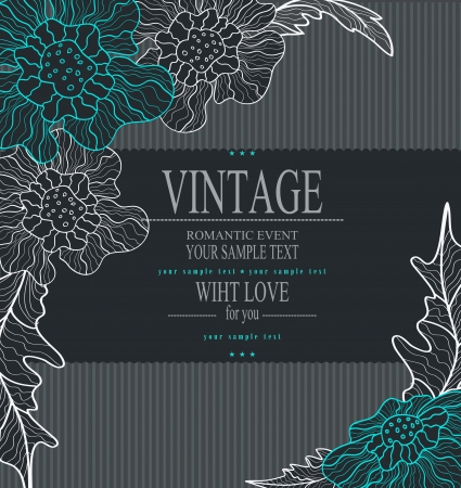 traditional events: congratulation vector vintage background with drawing flowers Illustration