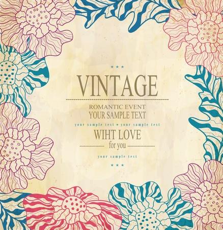 uitnodigen: kleur felicitatie vintage vector achtergrond met tekening bloemen