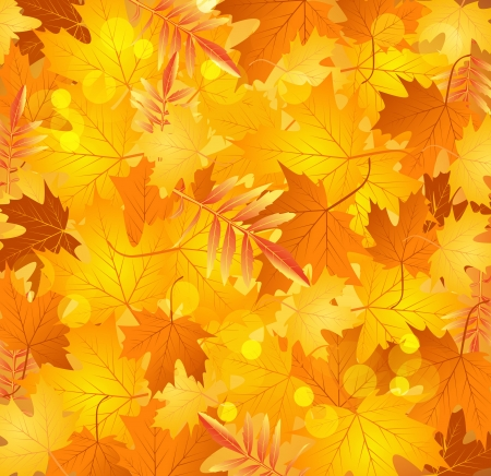 Vector spring background with golden leaves Vector