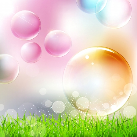 soap bubbles: vector background with flying colorful bubbles Illustration