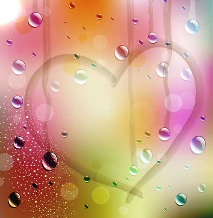 vector festive background with the drawn heart on color sweaty glass Vector