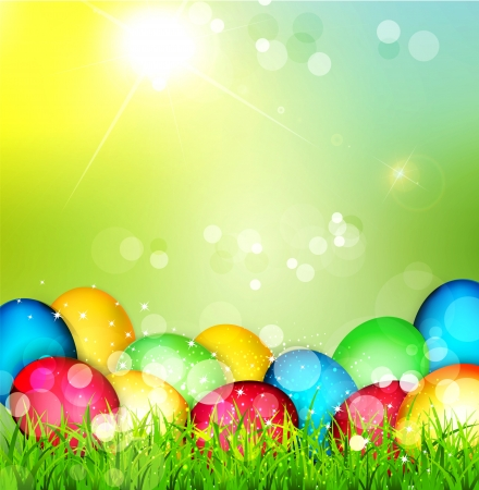 Vector painted Easter eggs lying in the grass against the sky and the bright rays of the sun Stock Vector - 18083183