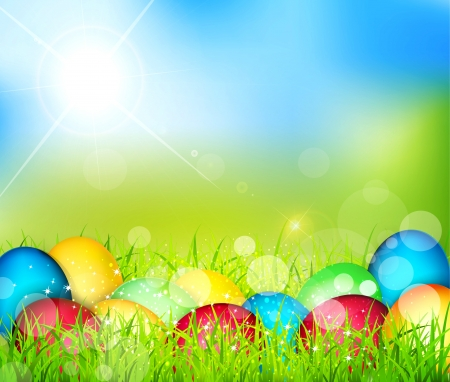 Vector painted Easter eggs lying in the grass against the sky and the bright rays of the sun Stock Vector - 18083205
