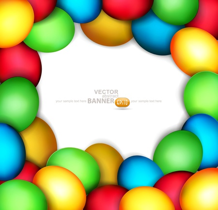 pasch: vector background with frame of easter eggs on white background