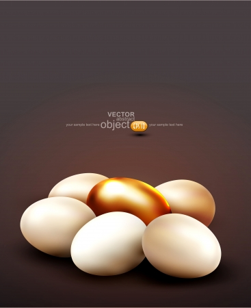 vector background with a golden egg surrounded by normal eggs  イラスト・ベクター素材