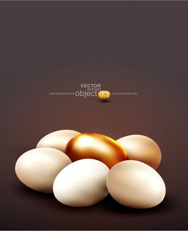 huevos de oro: vector de fondo con un huevo de oro rodeado de huevos normales