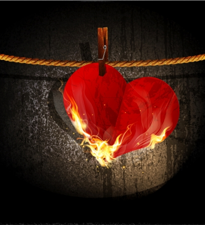 red love heart with flames: Vector burning heart hanging on a rope Illustration