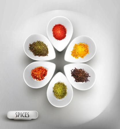 vector background with white bowl on the table, the filling of spices