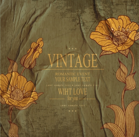 invitation background: dark green congratulation vintage vector  background with drawing flowers