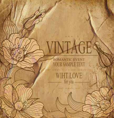 congratulation vintage vector  background with drawing flowers