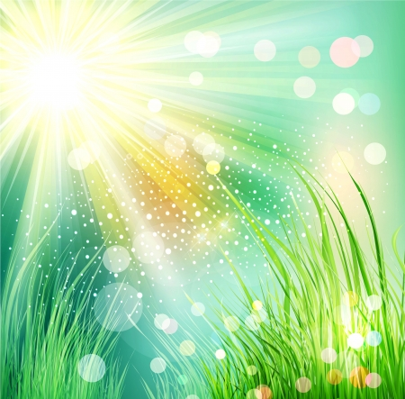 futuristic landscape with grass and sunlight Stock Vector - 18404540