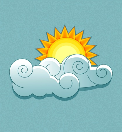 partly: Vector weather icons in retro style. Sun behind the clouds.