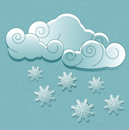 Vector weather icons in retro style. Clouds with snowflakes Vector