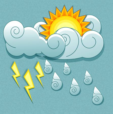 rainy season: Vector weather icons in retro style. Sun behind the clouds and rain drops and lightning