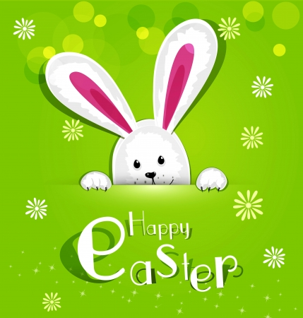 Vector Easter bunny looking out a green background Stock Illustratie