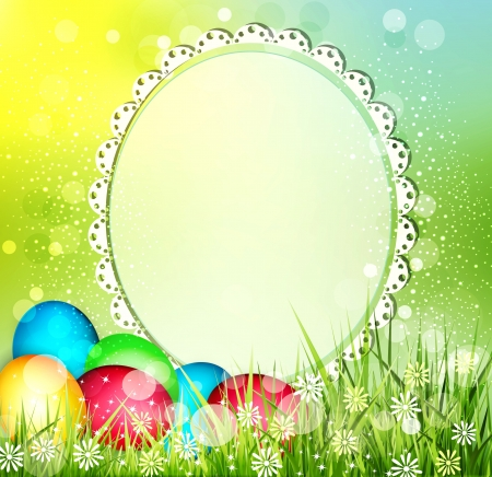 vector easter background with frame for text,  and eggs Vector