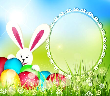 vector easter background with frame for text, rabbit and eggs Stock Vector - 18404512