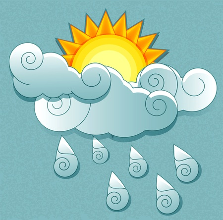 partly: weather icons in retro style. Sun behind the clouds and rain drops Illustration