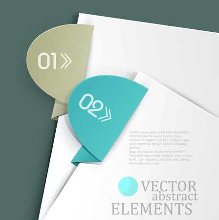 vector, an office background with white sheets of paper and colored tabs