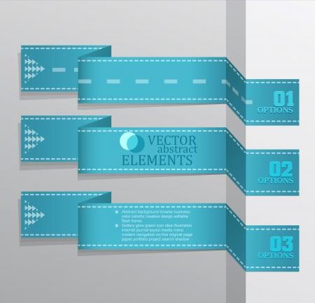 origami banner: Modern blue vector banner  Items for Web   Business Design  Illustration