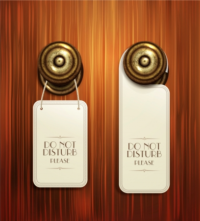 hotel door: Vector hotel handles with hanging signs on the wooden background Illustration
