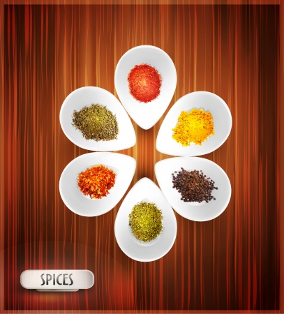 additives: vector background with white bowl on the wooden background, the filling of spices