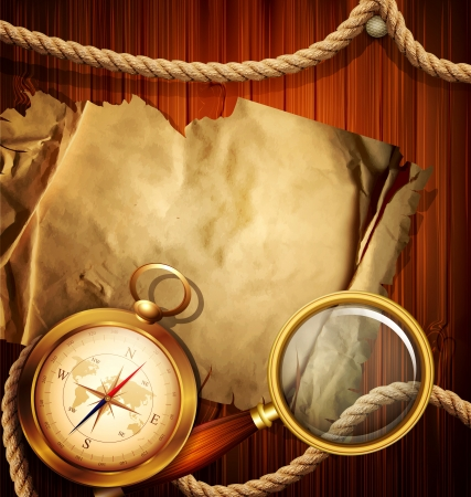 Vintage background with compass, magnifying glass, parchment and marine rope Vector