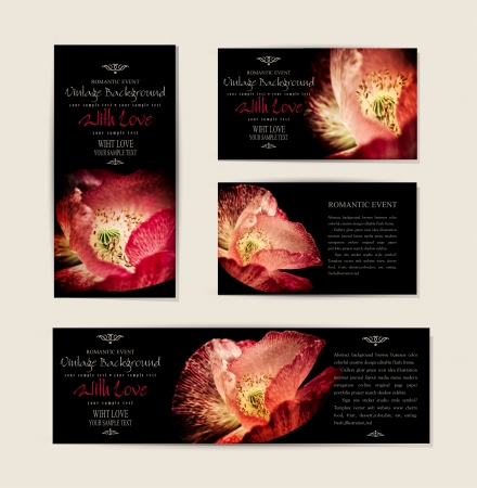 Set   black, elegant cards with red poppies   Vector