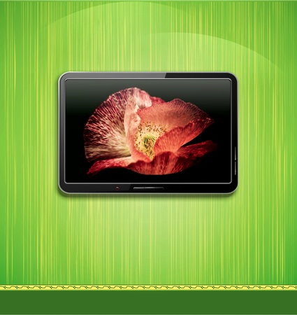 Lcd, plasma tv with beautiful poppy hanging on a green wall Vector