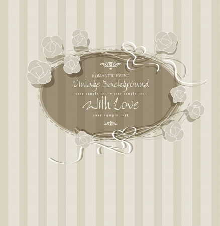 congratulation vintage background with flowers and a round frame Stock Vector - 20276598