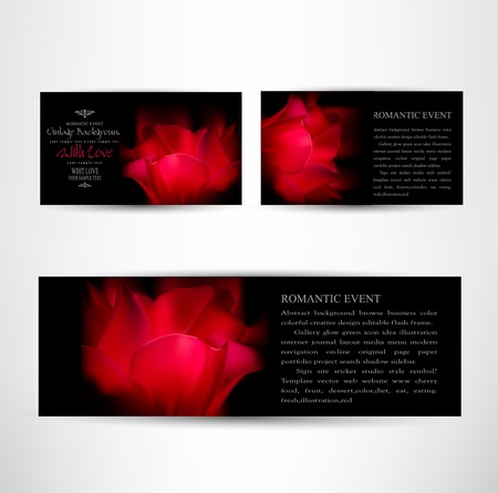 romantic cards set with red tulip petals on a black background Vector