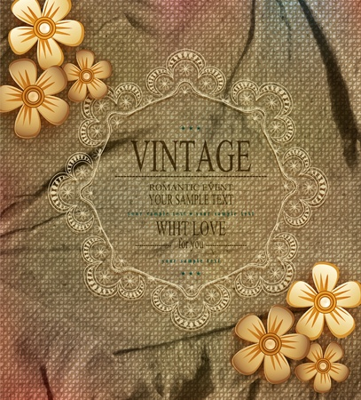 vector vintage romantic background with lace Stock Vector - 20747178