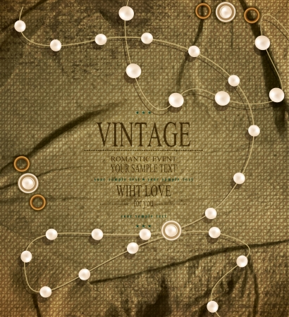 vector vintage background with strings of pearls Stock Vector - 20747179