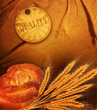 golden ears of wheat bun on the background of the old fabric, burlap Vector