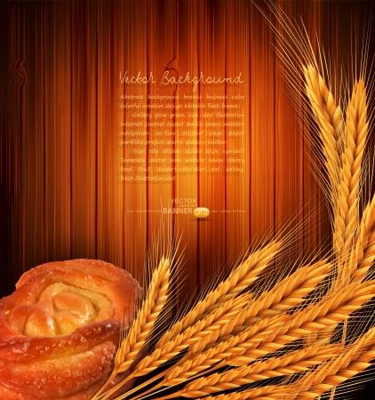 bakery sign: doradas espigas de trigo y el pan rollo sobre un fondo de madera