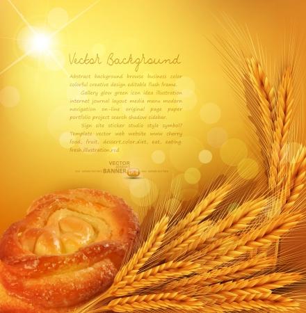 bakery sign: fondo con oro espigas de trigo, bollo, rayos del sol