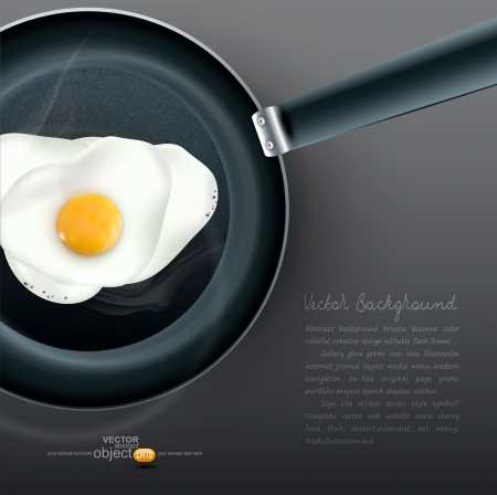 roasting: frying pan with fried eggs Illustration