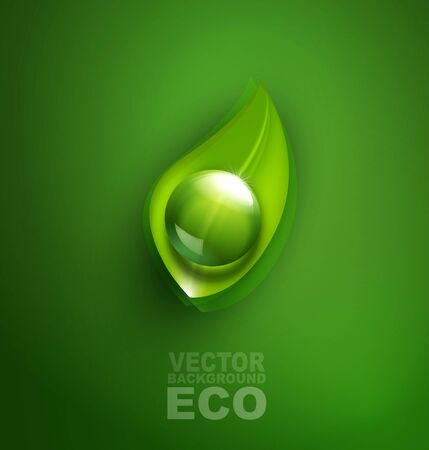 element for ecological design with a leaf and a drop of Stock Vector - 20747383