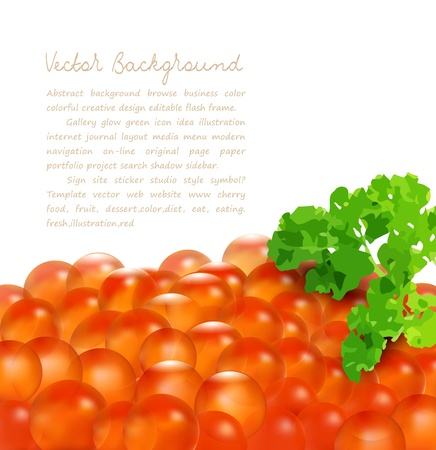 roe:  red caviar with parsley, isolated on white background and place for text Illustration