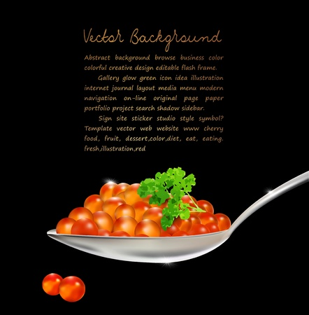 caviar: red caviar with parsley and a spoon on a black background Illustration