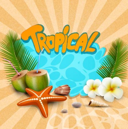 caribbean drink: tropical banner with seashells, starfish Illustration