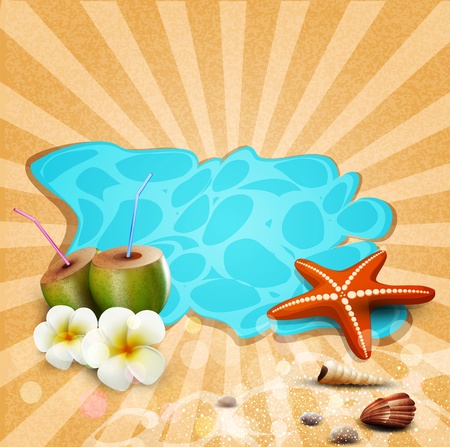 breezy: tropical banner with seashells, starfish Illustration