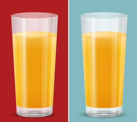 transparent glass of orange juice isolated Vector