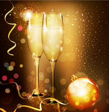 champagne glasses: Christmas holiday background with two glasses of champagne Illustration