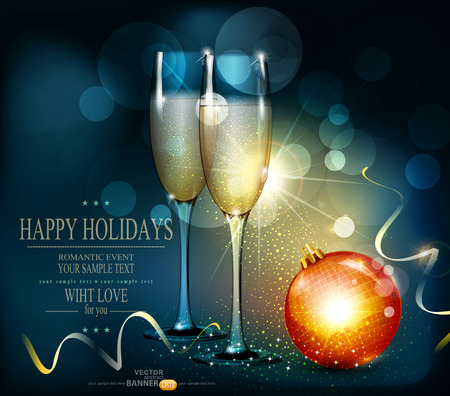 romantic christmas background with two glasses and christmas balls
